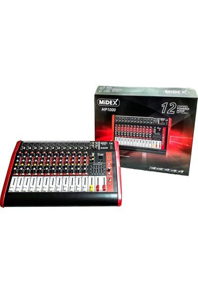 Midex MP-1000 Power Mikser Amfi 2 x 500W 12 Kanal Dsp Efekt Eq USB