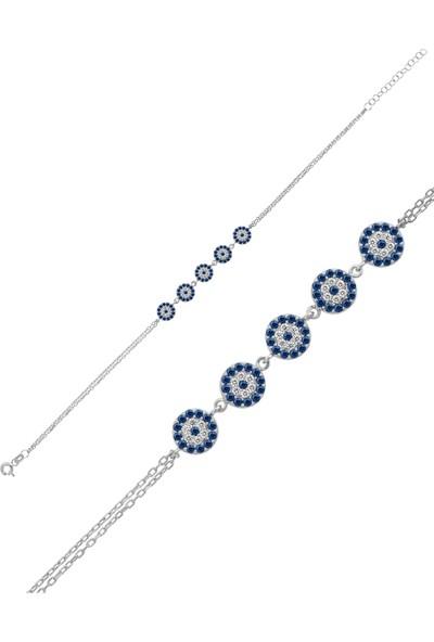 Dzg Silver Nazarlıklı Gümüş Bileklik, Gözlü Kadın Bileklik Dn1001A