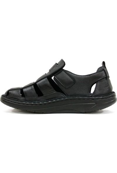Axfor 108 Siyah Jel Masaj Tabanlı Deri Erkek Sandalet