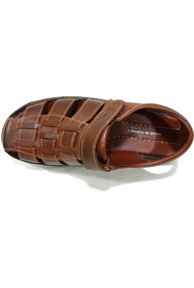 Sultan 208 Kahverengi Deri Anatomik Erkek Sandalet
