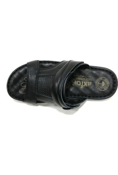 Axfor 176 Siyah Masaj Tabanlı Deri Erkek Terlik Sandalet