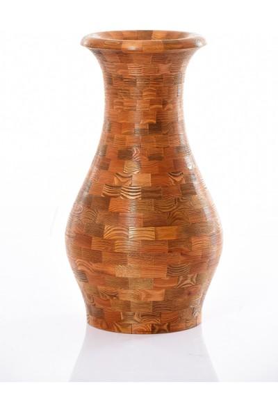 Flywood Ahşap Parçalı Dekoratif Vazo