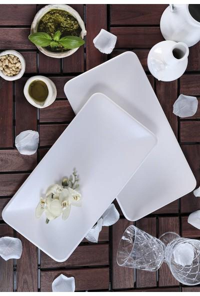 Keramika Mat Kırık Beyaz Siera Kayık Tabak 33 Cm 2 Adet