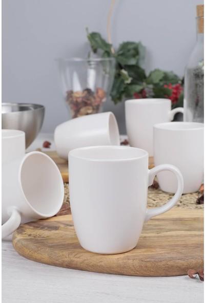 Keramika Mat Beyaz Bulut Kupa 9 Cm 6 Adet