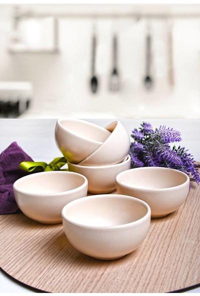Keramika Mat Kırık Beyaz Bulut Çerezlik/Sosluk 8 Cm 6 Adet