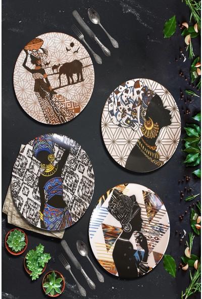 Keramika Afrikalı Kadınlar Servis Tabağı 25 Cm 4 Adet - 18106 - 07 - 11 -14