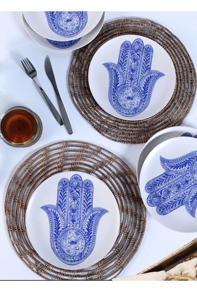 Keramika Fatma Ana Eli Mavi Servis Tabağı 6 Adet 26 Cm 17790