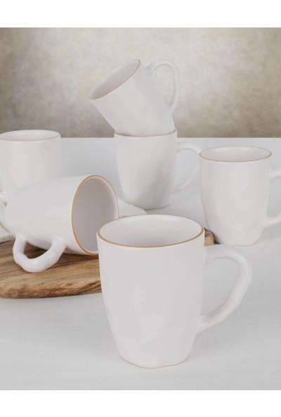 Keramika Beyaz Fileli Kupa 6 Adet 10 Cm