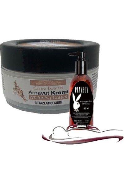 Three Brand Whitening Cream 4 Adet Arnavut Kremi 50ML Aklık Kremi Ile 120ML Playboy Masaj Yağı