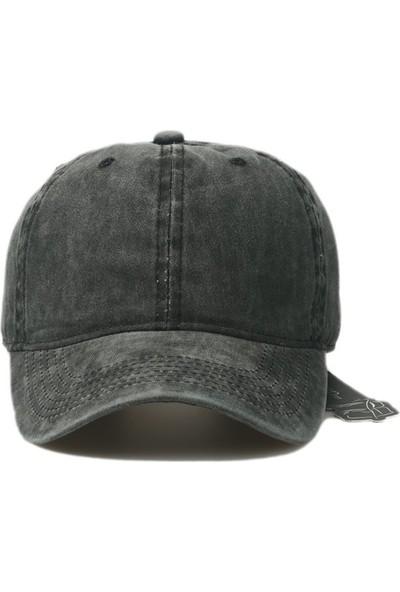 Düz Renk Yıkamalı Şapka Kep siyah