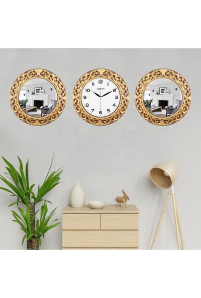 Cadran Avangarde Style 2'li Ayna ve Duvar Saati Seti CDM013