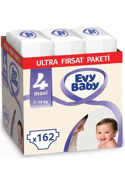 Evy Baby Bebek Bezi 4 Beden Maxi Ultra Fırsat Paketi 162 Adet