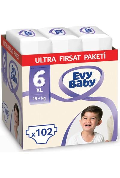 Evy Baby Bebek Bezi 6 Beden Ekstra Large Ultra Fırsat Paketi 102 Adet