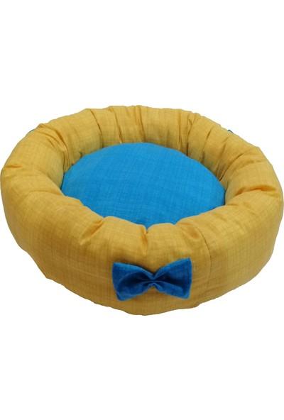 Woddy Papyonlu Pofuduk Simit Kedi ve Köpek Yatağı 50 cm