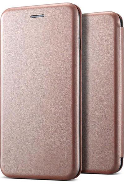 Prolysus Samsung Galaxy M10 Kılıf Kapaklı Cüzdan Flip Cover Wallet Kılıf Rose Gold