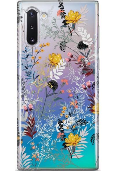 Lopard Samsung Galaxy Note 10 Kılıf Silikon Arka Koruma Kapak Bahar Çiçekleri Desenli
