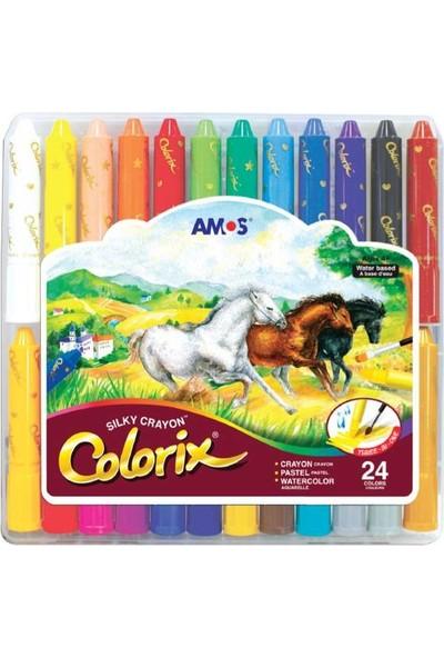 Amos Colorix Silky Crayon Üçü Bir Arada Boya 24 Renk