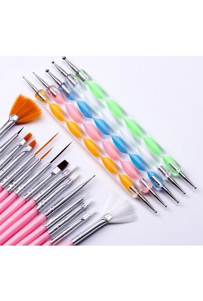 Ecoform 20 Parça Nail Art Tırnak Süsleme Desen Fırçası ve Dot Kalem Seti Pembe Renk