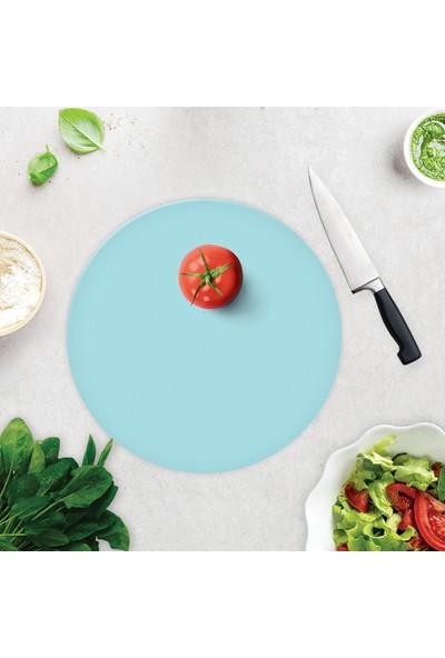 Decorita Düz Renk Mavi Cam Kesme Tahtası - Cam Kesim Tablası Çap 32cm