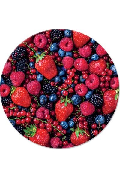 Decorita Kırmızı & Mor Meyveler | Cam Kesme Tahtası