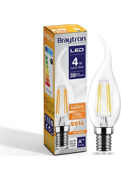 Braytron Kıvrık Buji Ince Duylu LED Ampul Cam 4 W E-14 2700K Gunışığı Işık BA35-00410