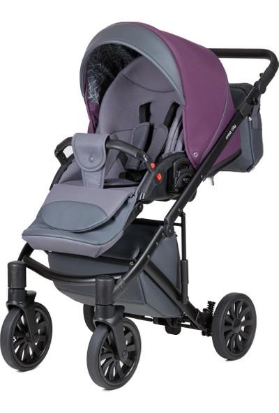 Anex® Cross City Bebek Arabası - Metalik Mürdüm - Anex Deri Sırt Çantası Hediye