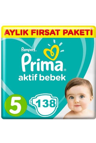 Prima Bebek Bezi Aktif Bebek 5 Beden 138 Adet Junior Aylık Fırsat Paketi