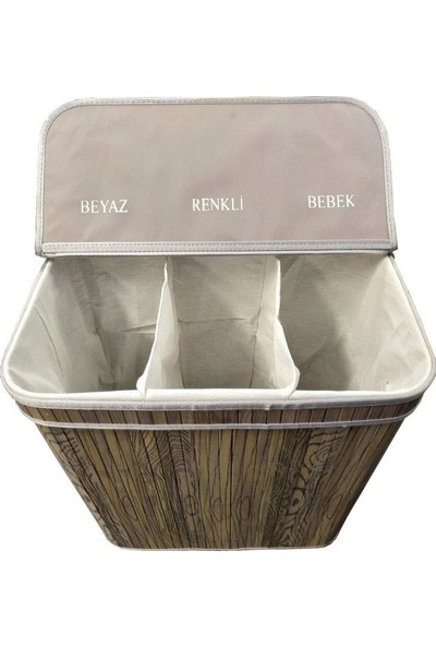 Lorin Bambu Katlanır Üç Hazneli Kirli Çamaşır Sepeti