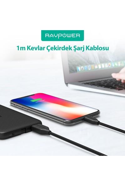 RAVPower RP-CB017 1 m USB-A Type-C Naylon/Çelik Örgülü Şarj/Data Kablosu Siyah +12000 Bükülme, 75-01000-090