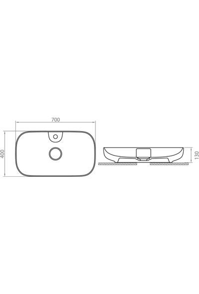 Lapino Premium Class 70 cm Tezgah Üstü Lavabo Batarya Delikli Beyaz