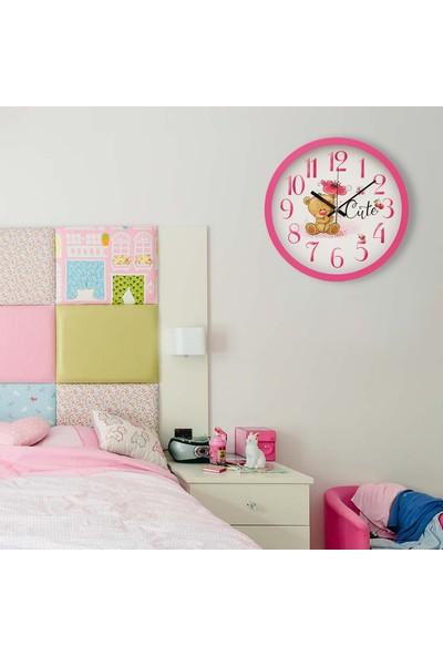Muyika Orsa Pembe Çerçeveli Çocuk Odası Duvar Saati 30 cm