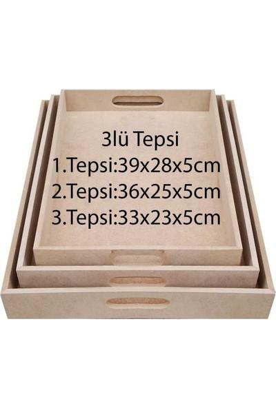 Okutan Hobi Tp1 3'lü Tepsi Dikdörtgen Ahşap Obje - Kod:tp1