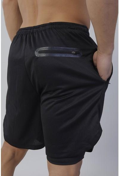 Gymwolves Erkek Spor Şort Çift Katmanlı Siyah Comfortable Serisi