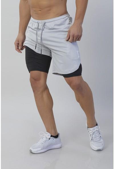 Gymwolves Erkek Spor Şort Çift Katmanlı Kırık Beyaz Comfortable Serisi