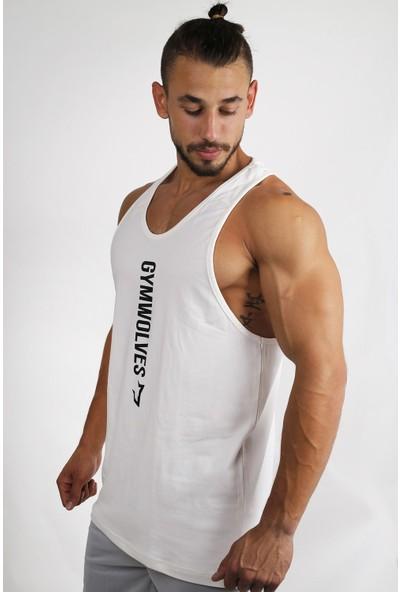 Gymwolves Spor Atleti Krem Stringer Workout Tanktop Comfortable Serisi