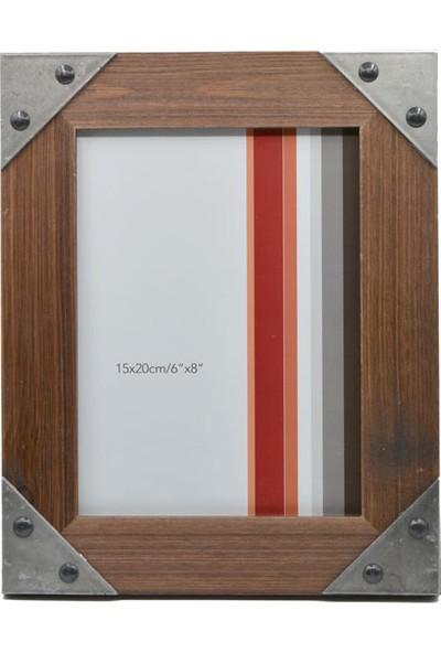 Acr 15 x 20 cm Metal Kenarlıklı Ahşap Fotoğraf Çerçevesi