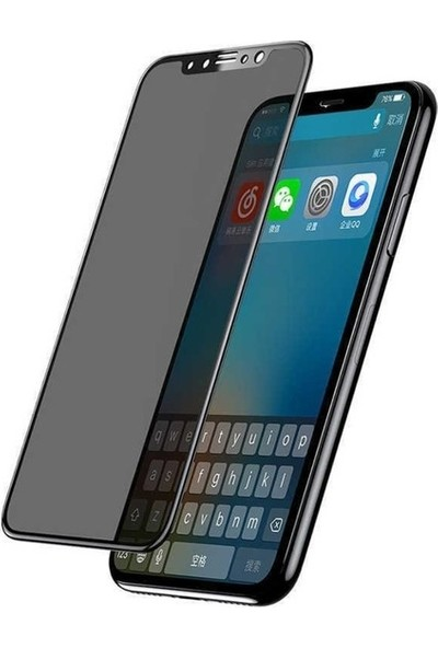 Ehr. Huawei Y7 2019 Ekran Koruyucu Cam Hayalet Cam Privacy Cam Siyah