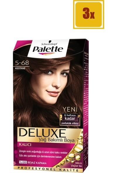 Palette Deluxe 5/68 Kestane Saç Boyası 3'lü Set