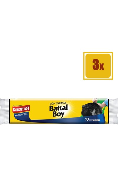 Koroplast Profesyonel Battal Boy Çöp Torbası 10' lu 3'lü Set