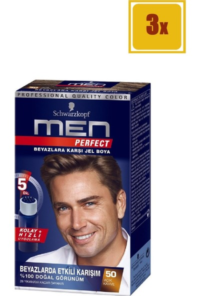 Schwarzkopf Men Perfect 50 Açık Kahve Saç Boyası 3'lü Set