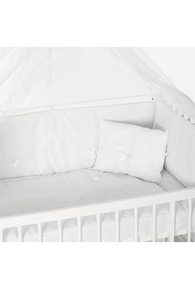 Heyner 60 x 120 %100 Pamuk Bebek Uyku Seti Takımı 8 Parça - Beyaz Güpürlü