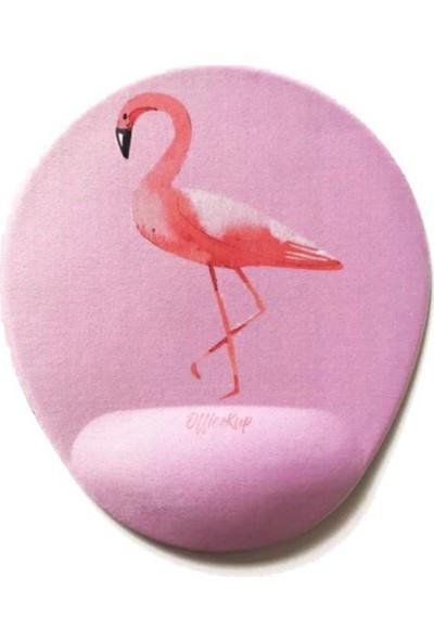 Office Küp Bilek Destekli Mouse Pad Flamingo Pembe