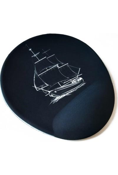 Office Küp Bilek Destekli Mouse Pad Siyah Gemi