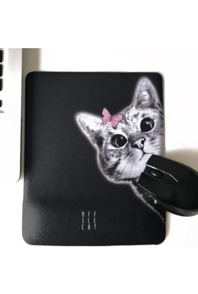 Office Küp Bilek Destekli Mouse Pad Siyah Meraklı Kedi