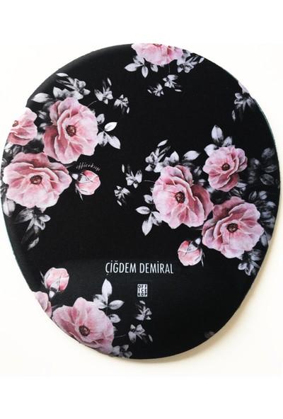 Office Küp Bilek Destekli Mouse Pad Flower Duet
