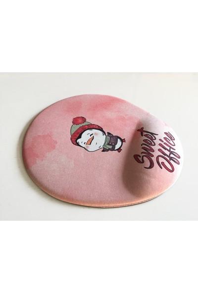 Office Küp Bilek Destekli Mouse Pad Pembe Pinguuu