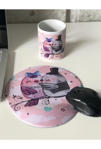 Office Küp Bilek Destekli Mouse Pad Kuşlar
