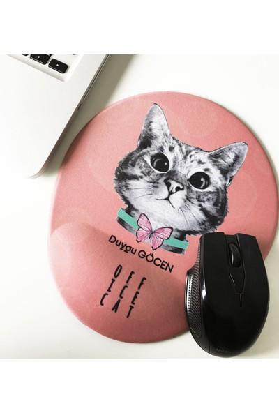 Office Küp Bilek Destekli Mouse Pad Pembe Meraklı Kedi