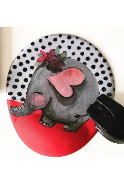 Office Küp Bilek Destekli Mouse Pad Kırmızı Fil