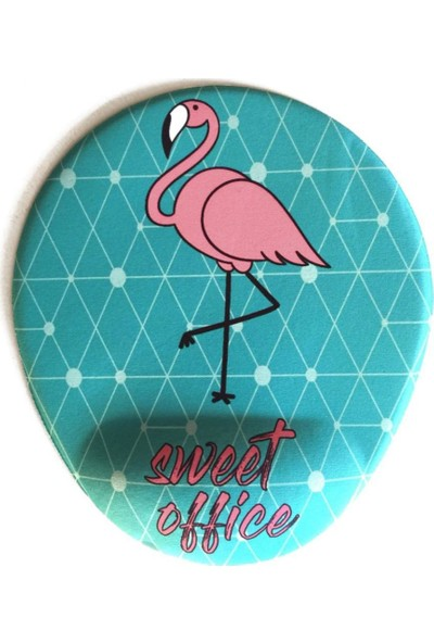 Office Küp Bilek Destekli Mouse Pad Flamingo Turkuaz
